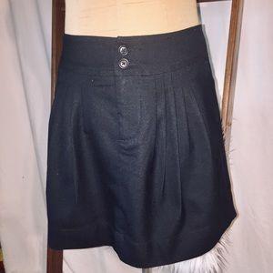 Fossil Pleated Black Wool Mini Skirt